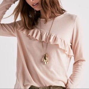 Soft Pink Ruffle Top Long Sleeve Lucky Brand M NWT